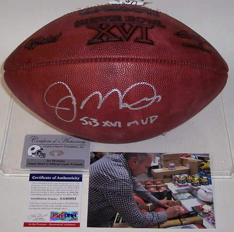 Joe Montana Autographed Hand Signed Super Bowl 16 XVI Official NFL Football - PSA/DNA PSM-Powers Sports Memorabilia
