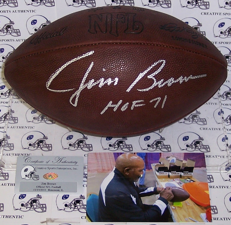 Jim Brown Autographed Hand Signed Official NFL Football - PSA/DNA PSM-Powers Sports Memorabilia