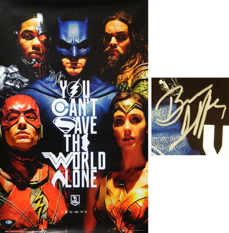 Ben Affleck Signed (Batman) Justice League 24x36 Full Size Movie Poster PSM-Powers Sports Memorabilia