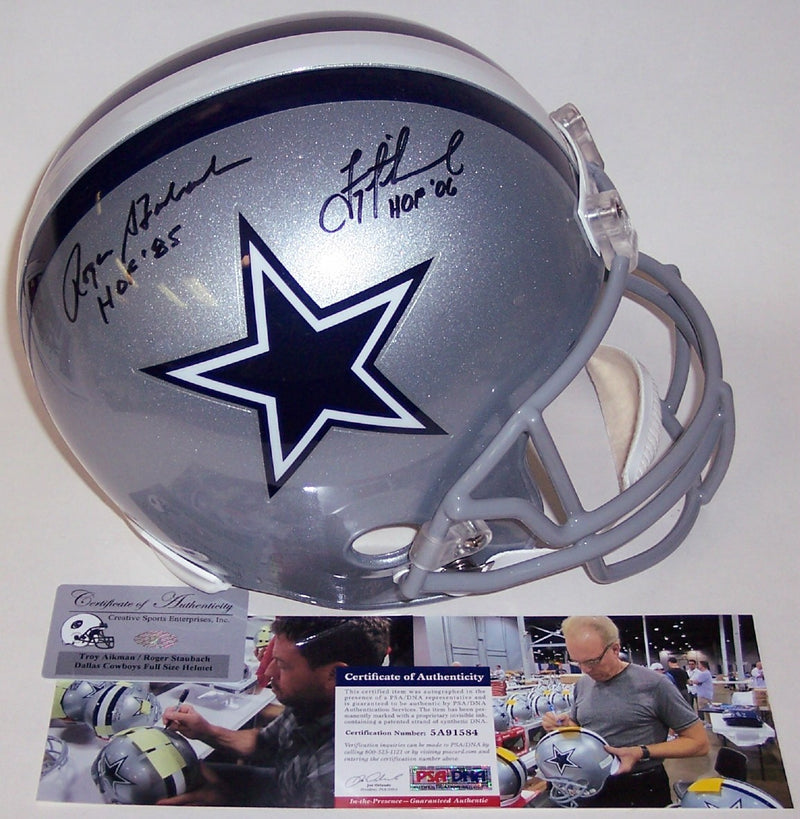Troy Aikman & Roger Staubach Autographed Hand Signed Dallas Cowboys Full Size Helmet - PSA/DNA PSM-Powers Sports Memorabilia
