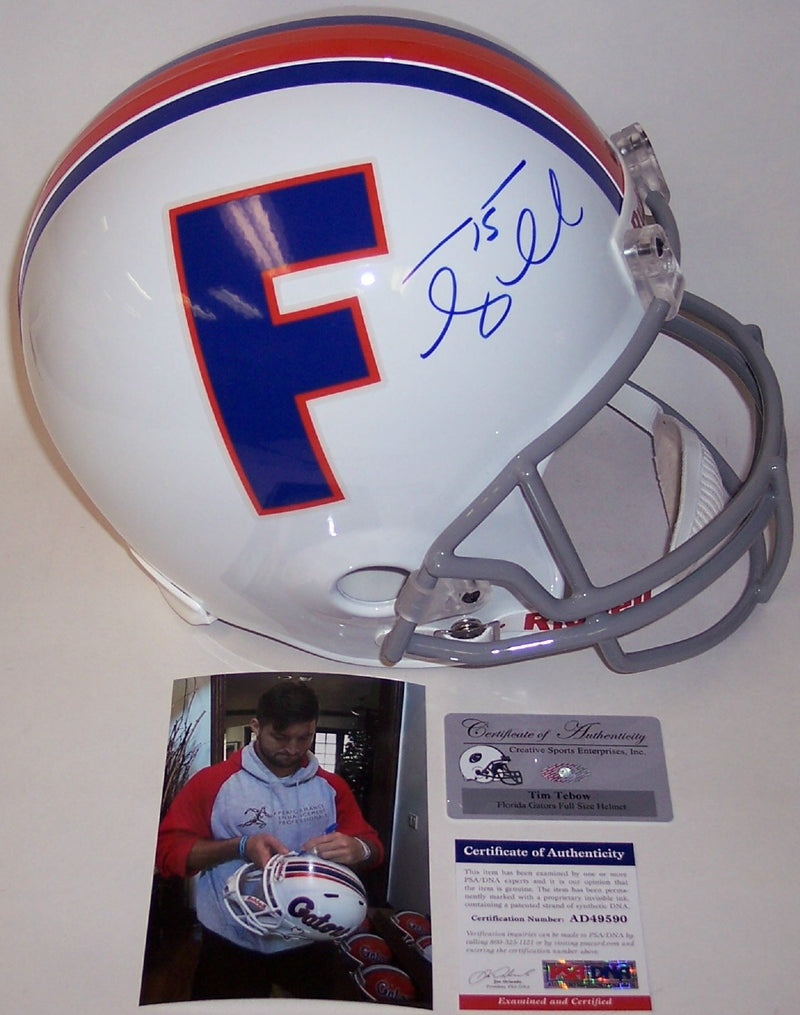 Tim Tebow Autograhed Hand Signed Florida Gators Full Size Helmet - PSA/DNA PSM-Powers Sports Memorabilia