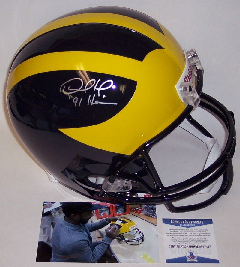 Desmond Howard Autographed Hand Signed Michigan Wolverines Full Size Helmet - BAS Beckett PSM-Powers Sports Memorabilia