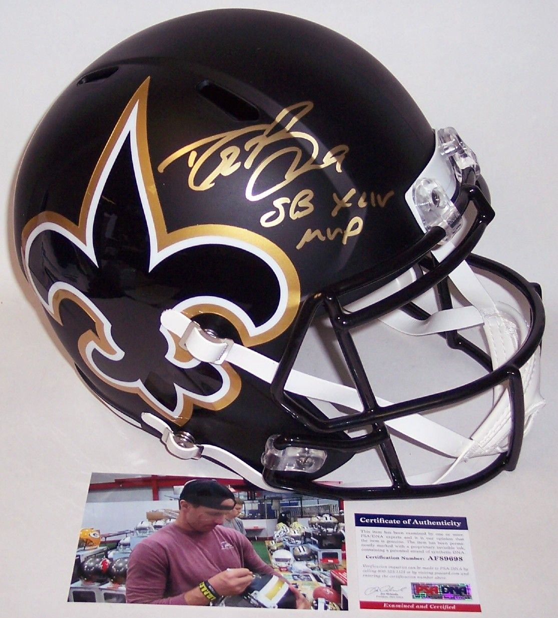 Drew Brees Autographed Hand Signed New Orleans Saints AMP Speed Full Size Helmet - PSA/DNA PSM-Powers Sports Memorabilia