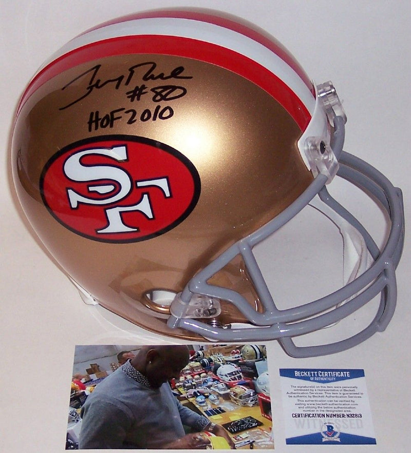 Jerry Rice Autographed Hand Signed San Francisco 49ers Throwback Full Size Helmet - BAS Beckett PSM-Powers Sports Memorabilia