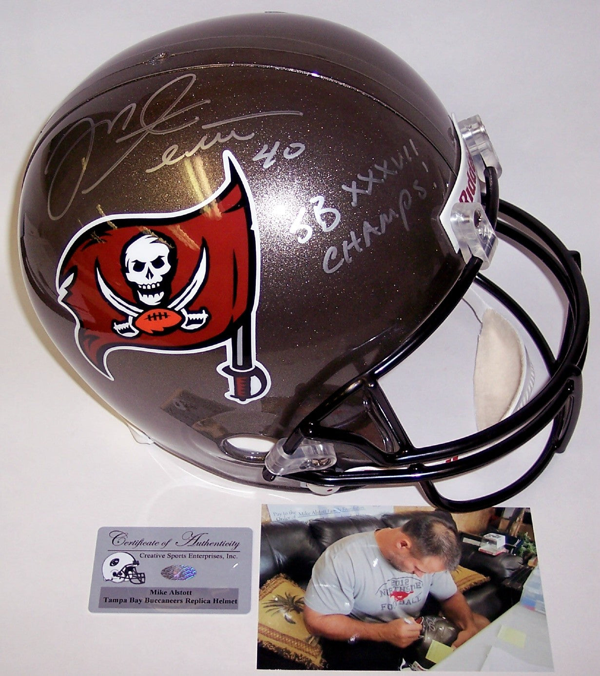 Mike Alstott Autographed Hand Signed Tampa Bay Bucs Full Size Helmet-Powers Sports Memorabilia
