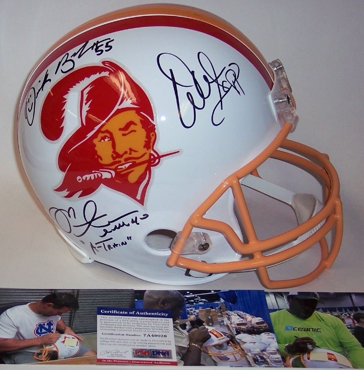Warren Sapp, Derrick Brooks & Mike Alstott Autographed Hand Signed Throwback Tampa Bay Bucs Full Size Helmet - PSA/DNA PSM