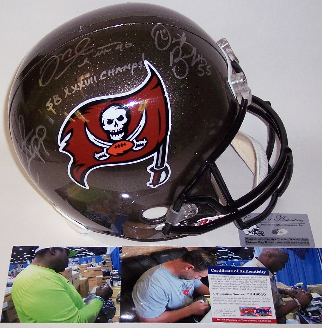 Warren Sapp, Derrick Brooks & Mike Alstott Autographed Hand Signed Throwback Tampa Bay Buccaneers Full Size Helmet - PSA/DNA PSM