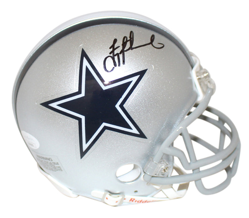 Troy Aikman Autographed/Signed Dallas Cowboys Mini Helmet JSA PSM-Powers Sports Memorabilia