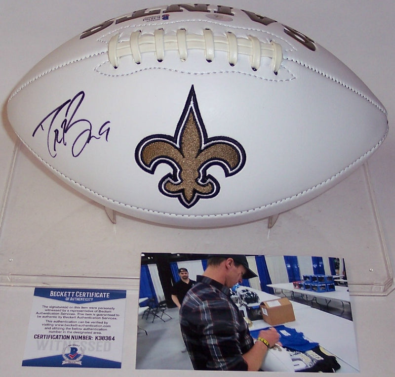 Drew Brees Autographed Hand Signed New Orleans Saints Full Size Logo Football - BAS Beckett PSM