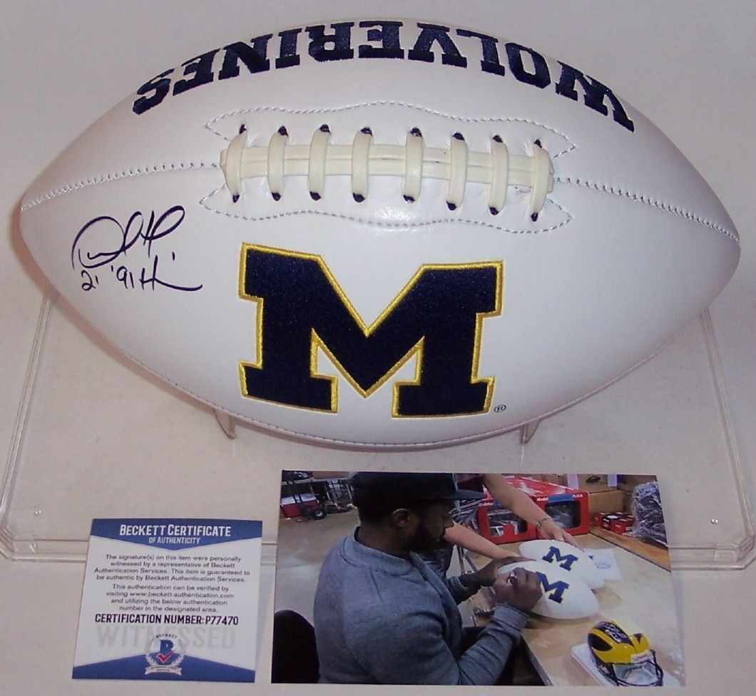 Desmond Howard Autographed Hand Signed Michigan Wolverines Logo Football - BAS Beckett PSM-Powers Sports Memorabilia