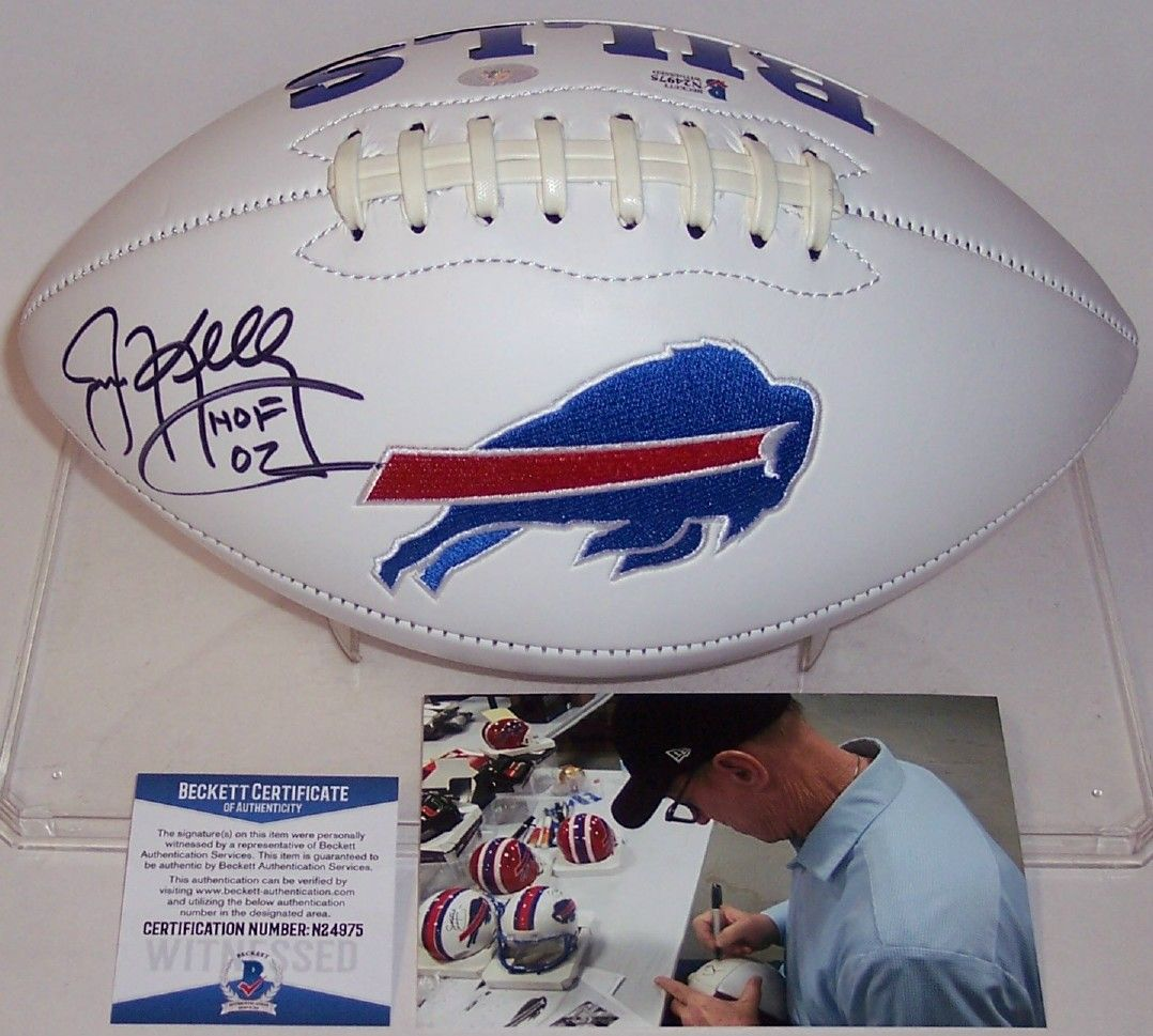 Jim Kelly Autographed Hand Signed Buffalo Bills Logo Football - BAS Beckett PSM-Powers Sports Memorabilia
