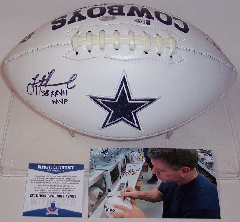 Troy Aikman Autographed Hand Signed Dallas Cowboys Full Size Logo Football - BAS Beckett PSM-Powers Sports Memorabilia