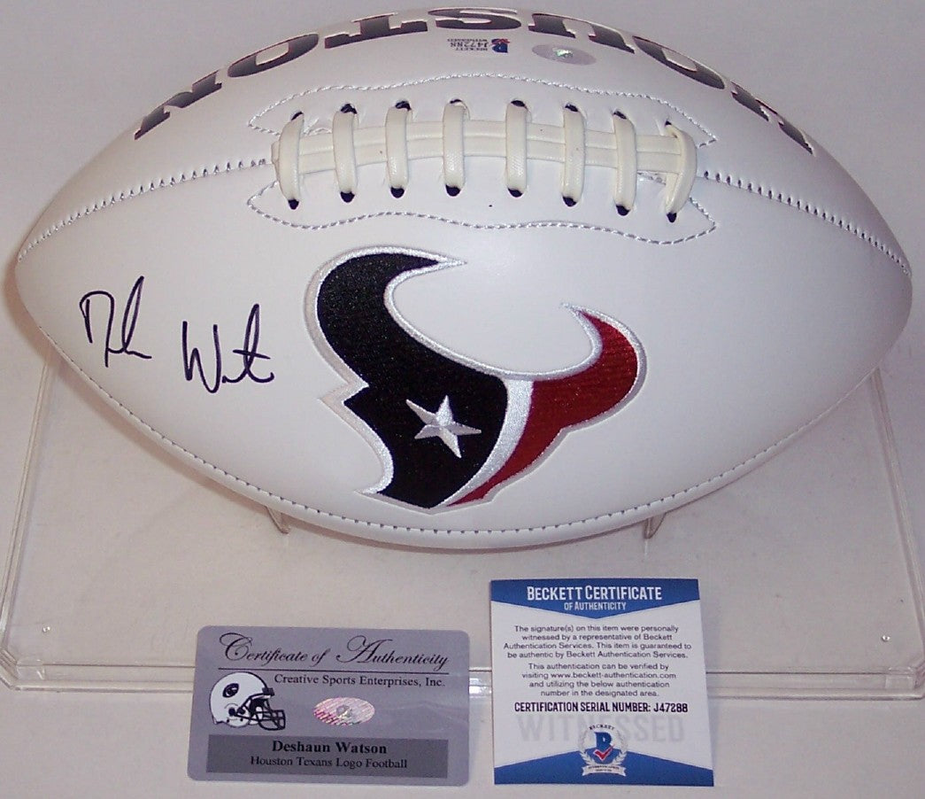 DeShaun Watson Autographed Hand Signed Houston Texans Logo Football - BAS PSM-Powers Sports Memorabilia