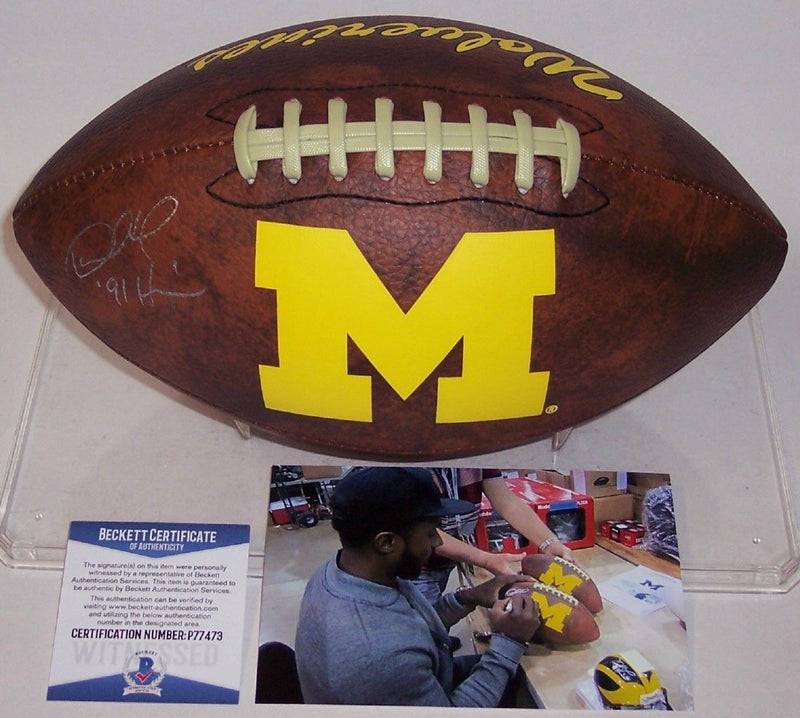 Desmond Howard Autographed Hand Signed Michigan Wolverines Vintage Logo Football - BAS Beckett PSM-Powers Sports Memorabilia