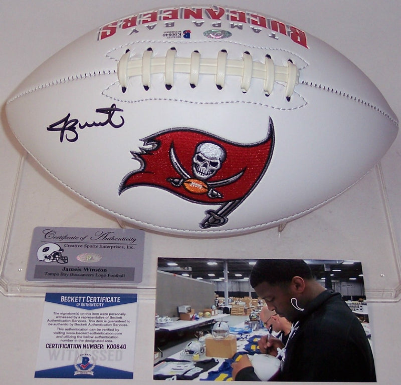 Jameis Winston Autographed Hand Signed Tampa Bay Bucs Logo Football - BAS Beckett PSM-Powers Sports Memorabilia