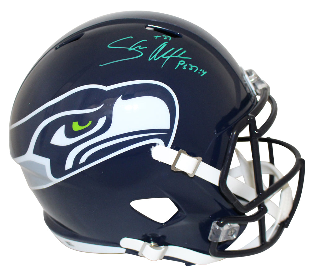 Shaun Alexander Autographed Seattle Seahawks Speed Replica Helmet BAS PSM-Powers Sports Memorabilia