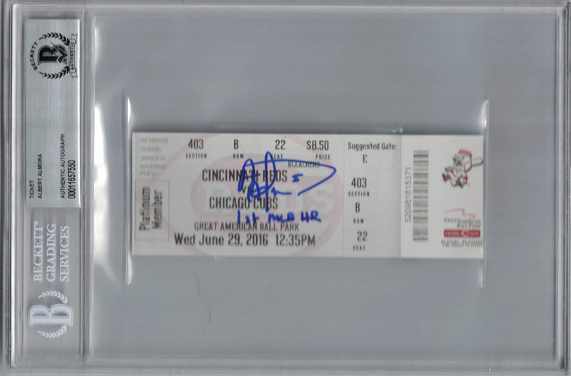Albert Almora Autographed/Signed Chicago Cubs Ticket 1st MLB HR BAS Slab PSM-Powers Sports Memorabilia