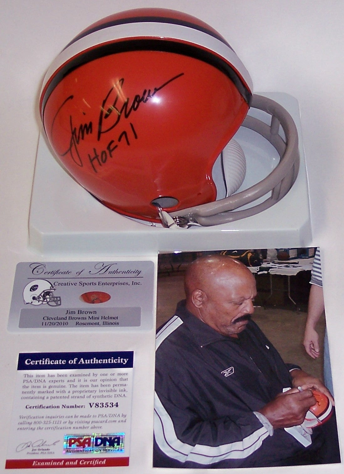 Jim Brown Autographed Hand Signed Browns Mini Helmet - PSA/DNA PSM-Powers Sports Memorabilia
