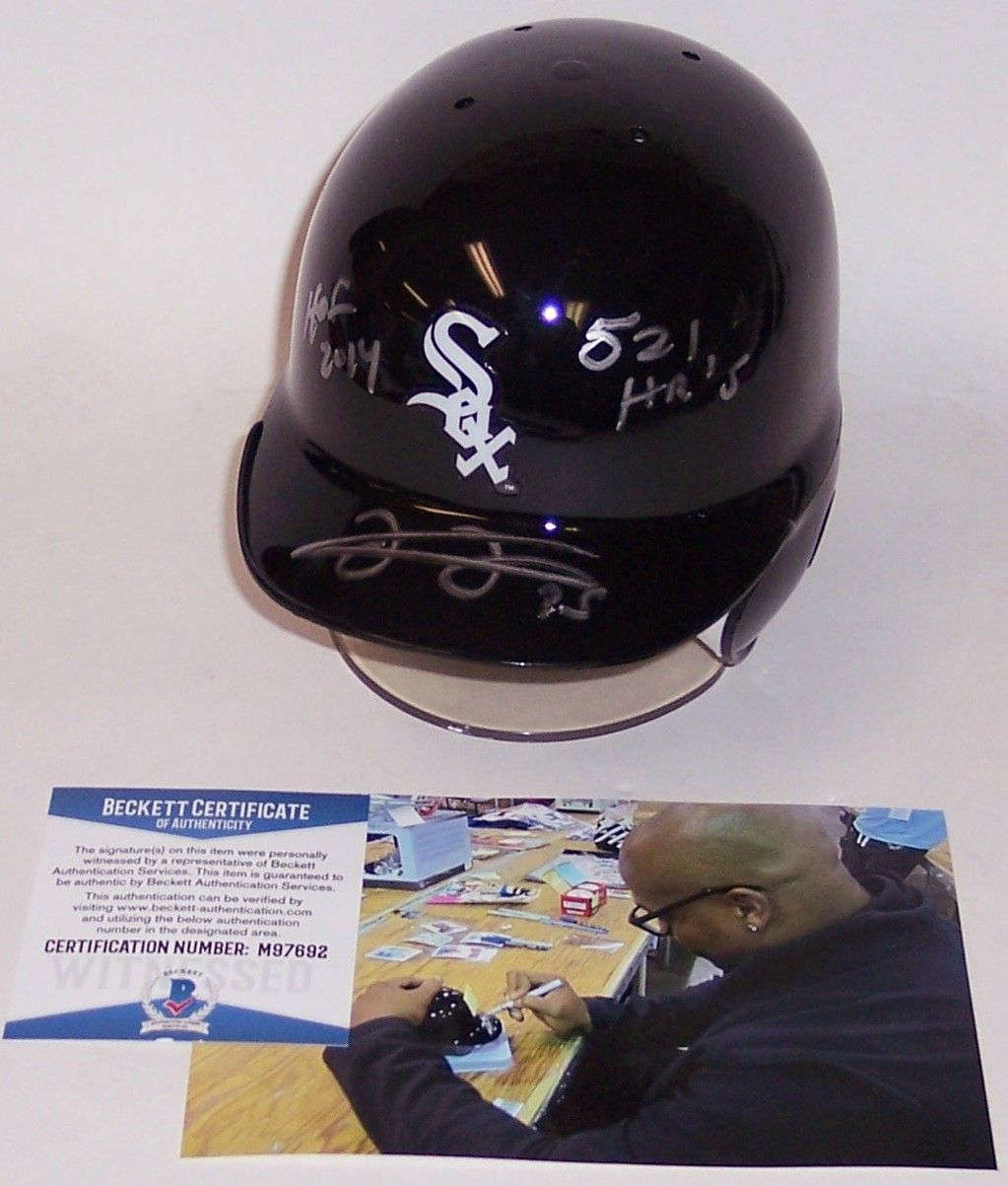 Frank Thomas Autographed Hand Signed Chicago White Sox Mini Helmet - BAS Beckett PSM-Powers Sports Memorabilia