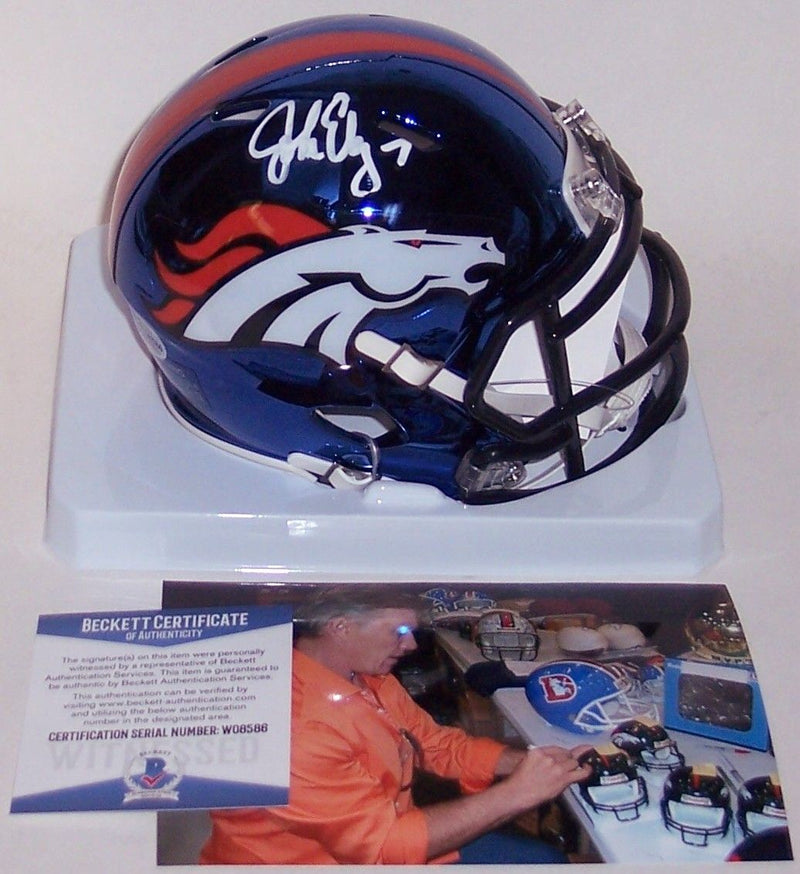 John Elway Autographed Hand Signed Denver Broncos Chrome Speed Mini Helmet - BAS Beckett PSM-Powers Sports Memorabilia