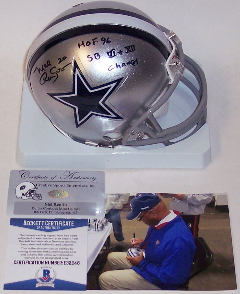Mel Renfro Autographed Hand Signed Cowboys Mini Helmet - BAS Beckett PSM-Powers Sports Memorabilia