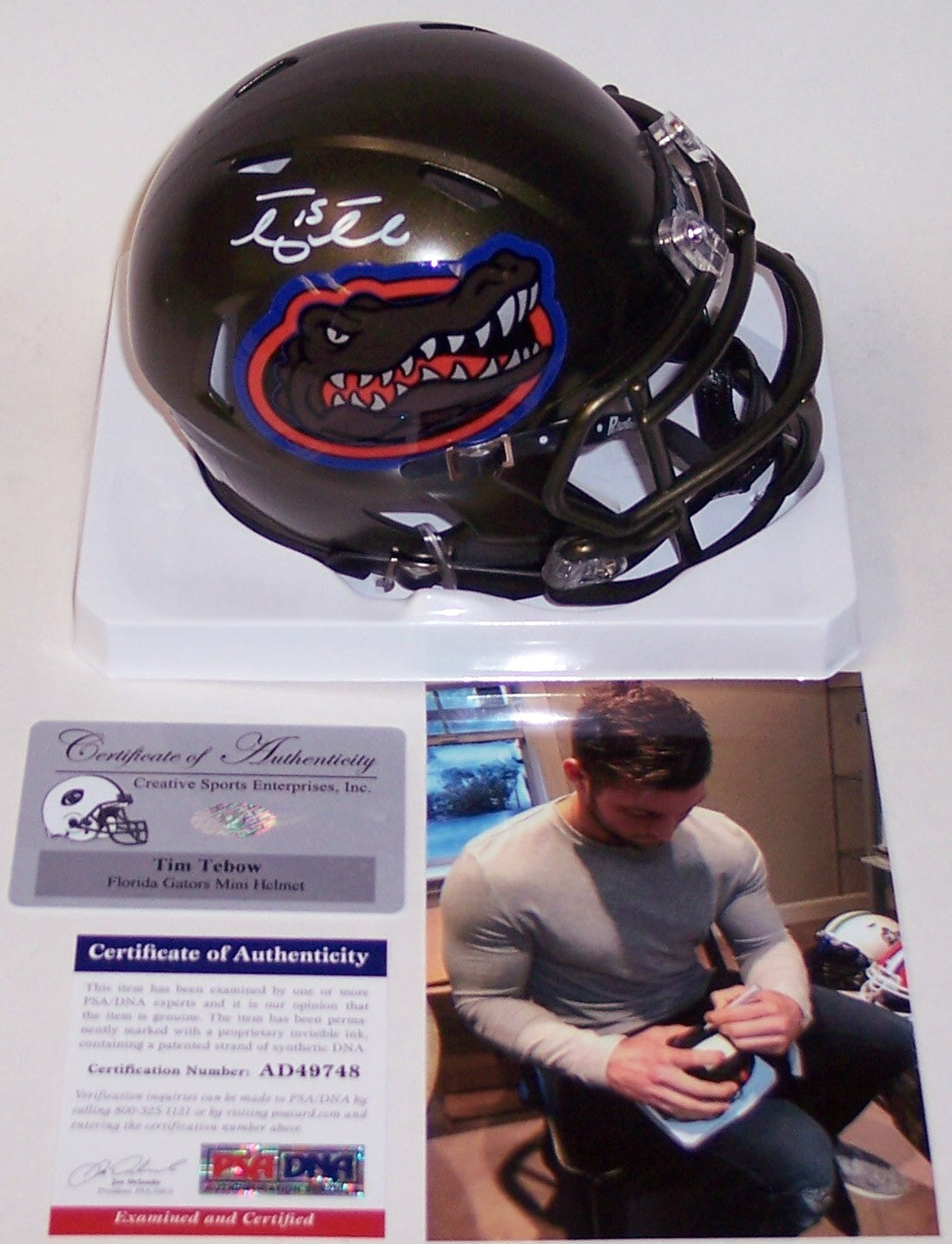 Tim Tebow Autographed Hand Signed Florida Gators Speed Mini Helmet - PSA/DNA PSM-Powers Sports Memorabilia