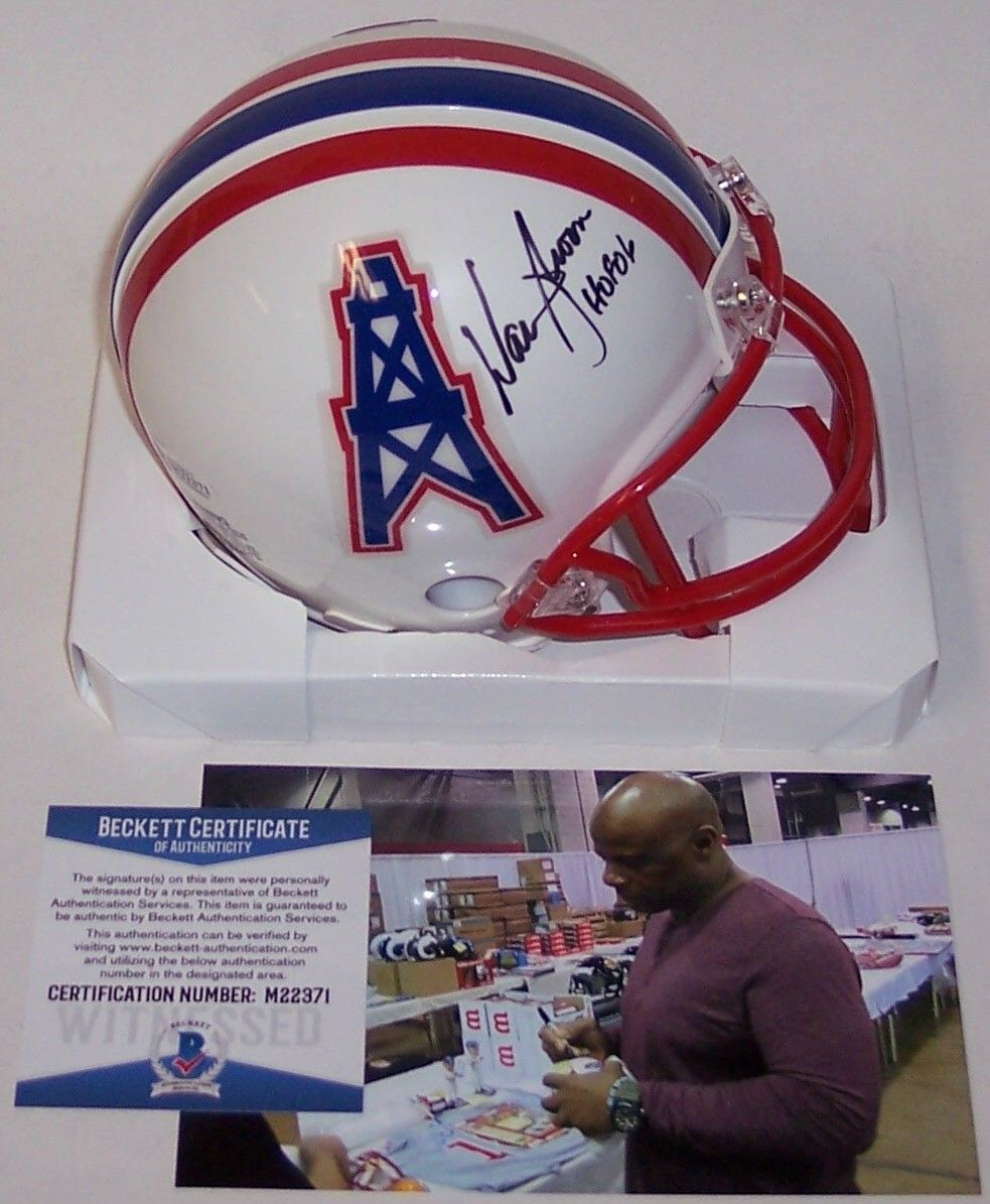 Warren Moon Autographed Hand Signed Houston Oilers Mini Helmet - BAS Beckett Authentication PSM-Powers Sports Memorabilia