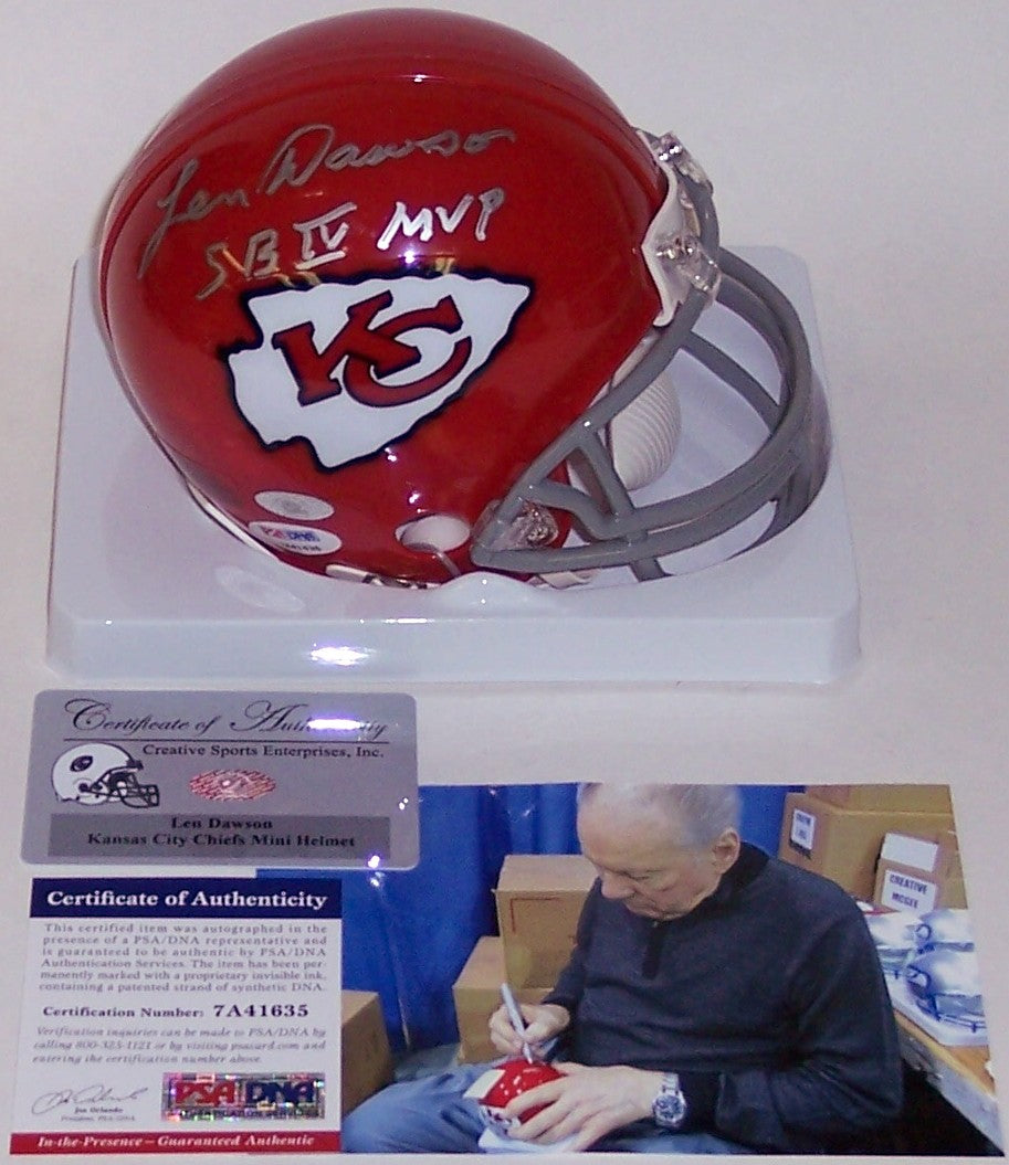 Len Dawson Autographed Hand Signed Chiefs Mini Helmet - PSA/DNA PSM-Powers Sports Memorabilia