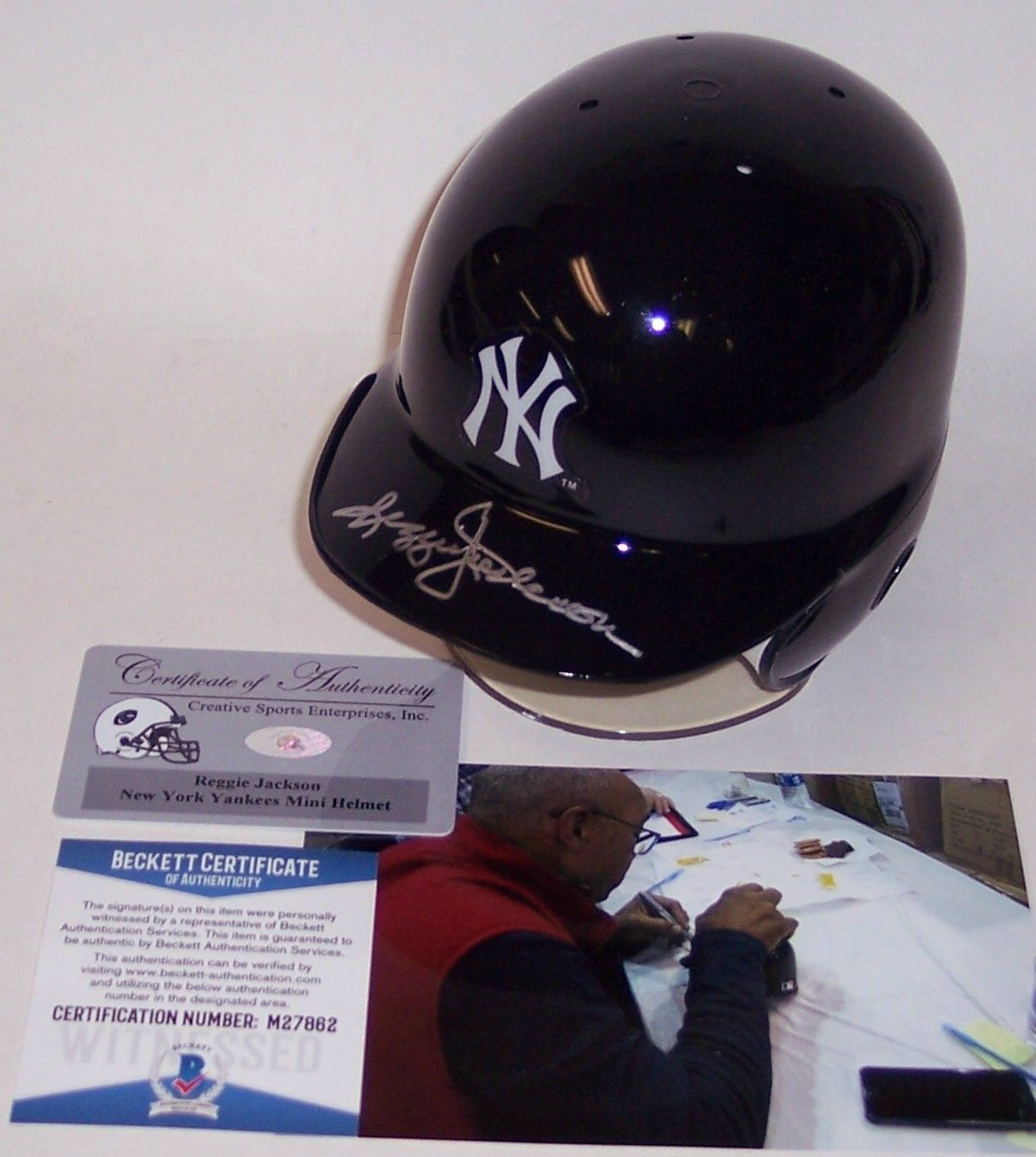 Reggie Jackson Autographed Hand Signed NY Yankees Mini Batting Helmet - BAS Beckett Authentication PSM-Powers Sports Memorabilia