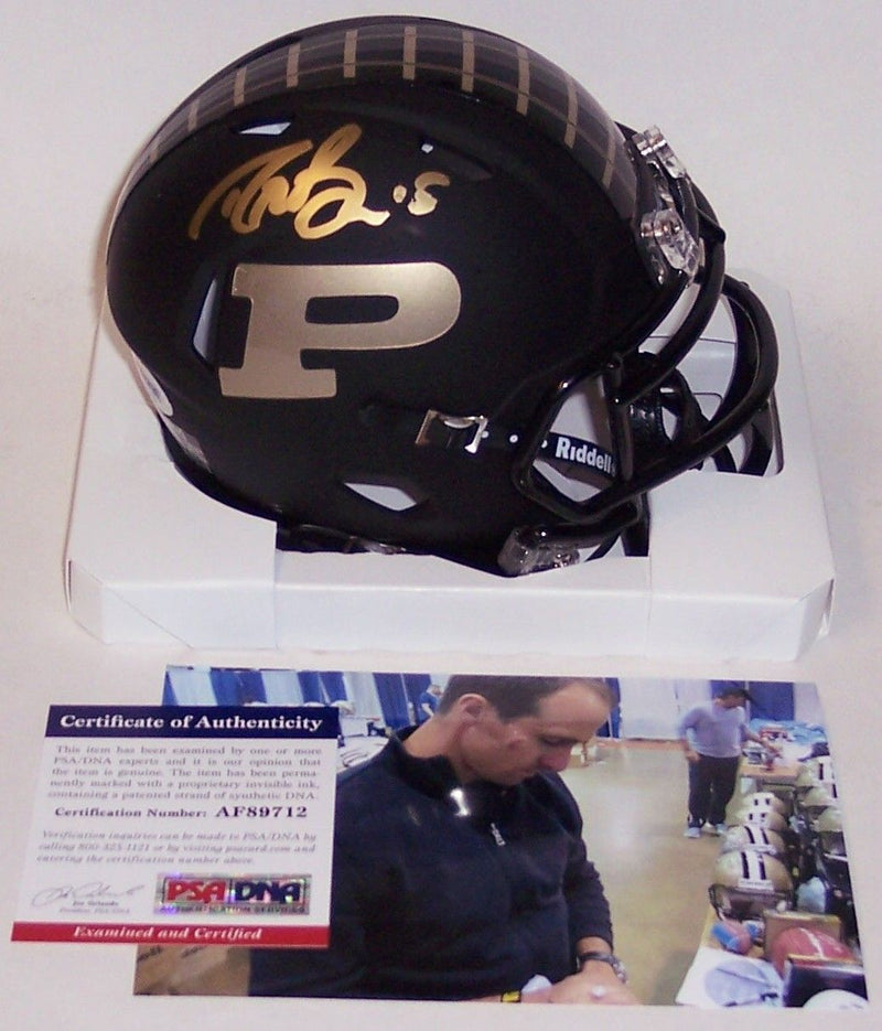 Drew Brees Autographed Hand Signed Riddell Matte Black Purdue Boilermakers Speed Mini Helmet - PSA/DNA PSM-Powers Sports Memorabilia