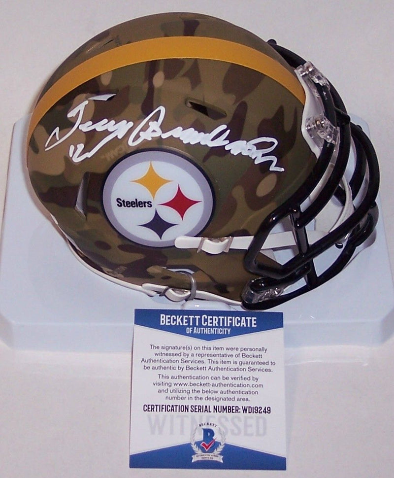 Terry Bradshaw Autographed Hand Signed Stellers Camo Speed Mini Helmet - BAS Beckett PSM-Powers Sports Memorabilia