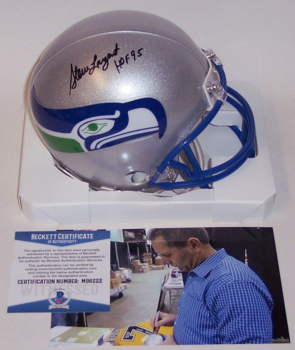 Steve Largent Autographed Hand Signed Seattle Seahawks Mini Helmet - BAS Beckett PSM-Powers Sports Memorabilia