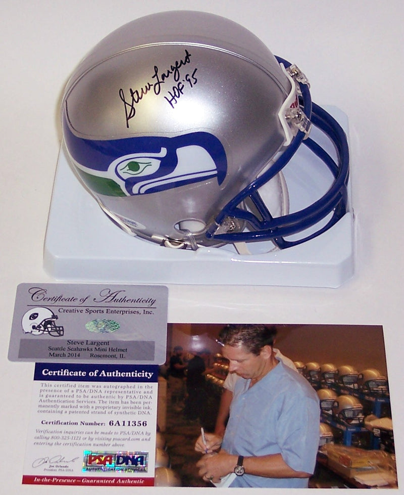 Steve Largent Autographed Hand Signed Seattle Seahawks Mini Helmet - PSA/DNA PSM-Powers Sports Memorabilia