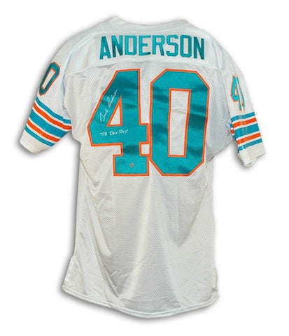 "Autographed Dick Anderson Miami Dolphins White Throwback Jersey Inscribed ""73 DEF POY"" PSM-Powers Sports Memorabilia"