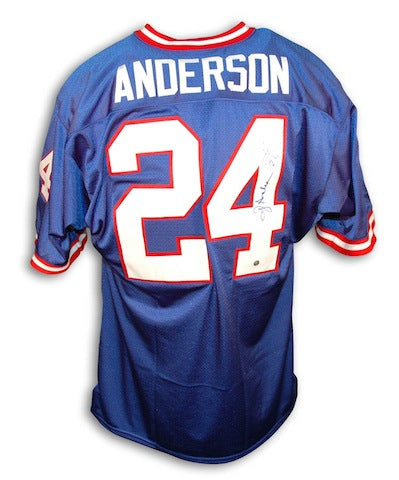 Autographed Ottis Anderson New York Giants Blue Throwback Jersey PSM-Powers Sports Memorabilia