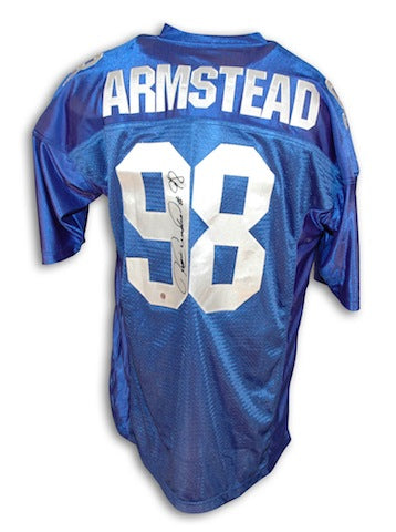 Autographed Jesse Armstead New York Giants Blue Jersey PSM-Powers Sports Memorabilia