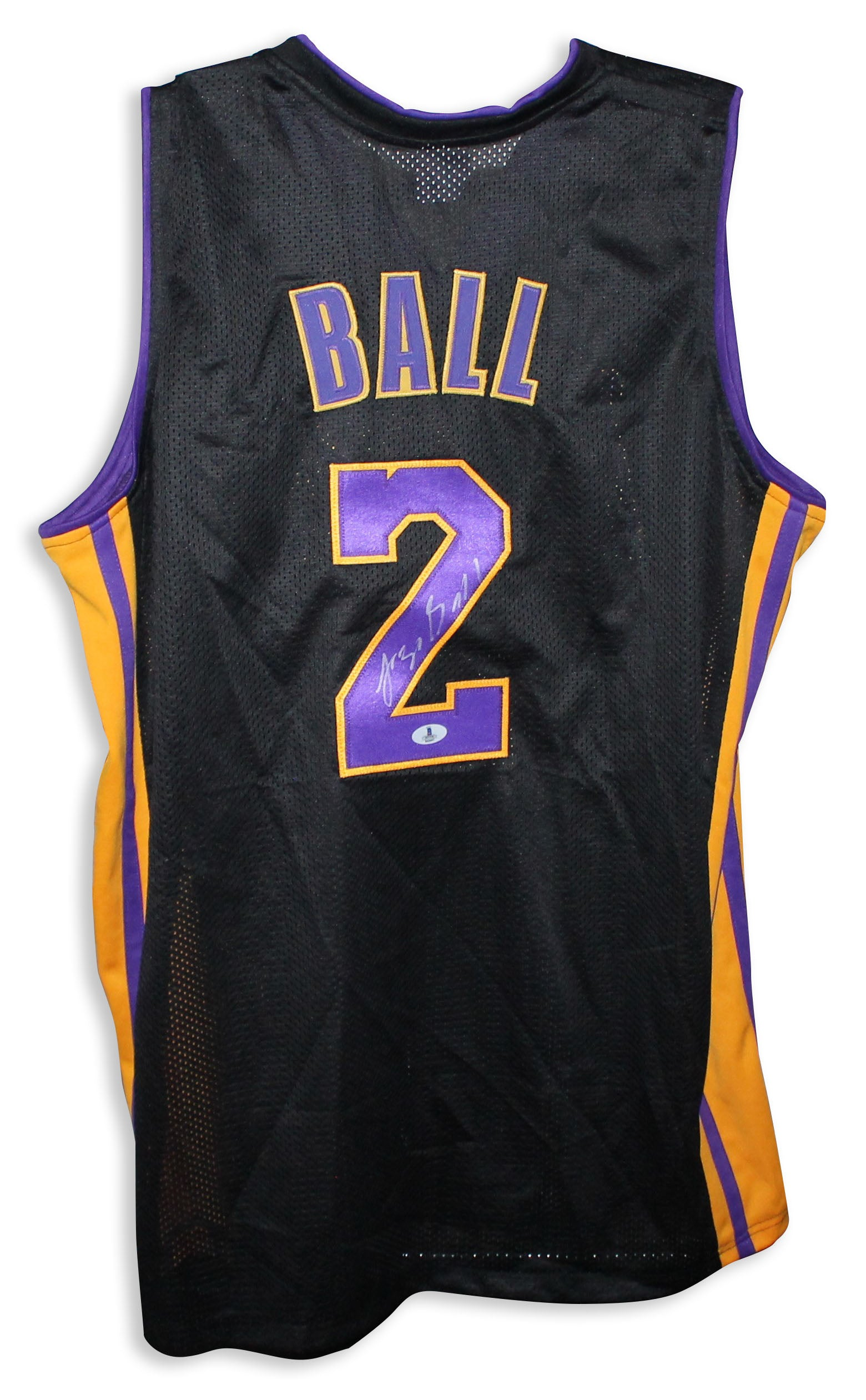 on sale 90c4a 05f0a Lonzo Ball Los Angeles Lakers Autographed Black Jersey PSM