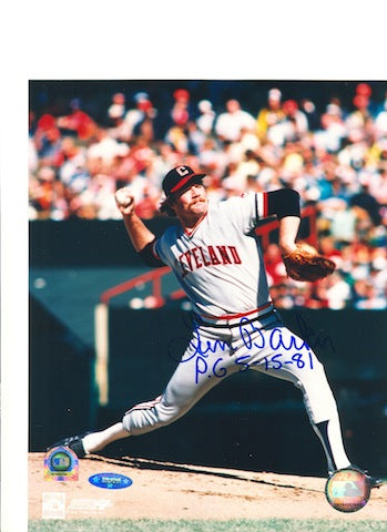 "Autographed Len Barker Cleveland Indians 8x10 Photo Inscribed ""PG 5-15-81"" PSM-Powers Sports Memorabilia"