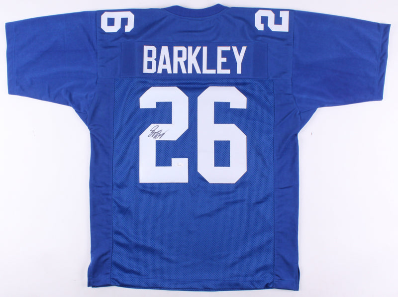 Saquon Barkley New York Giants Autographed Blue Jersey with RARE FULL SIGNATURE. This item comes with a COA from JSA. PSM-Powers Sports Memorabilia