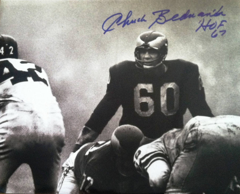 "Chuck Bednarik Philadelphia Eagles Autographed 11x14 Photo Inscribed ""HOF 67"" PSM-Powers Sports Memorabilia"