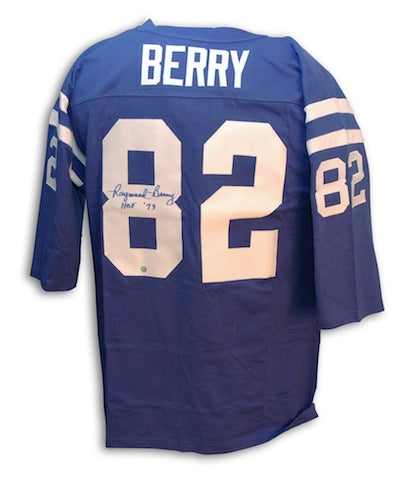 Autographed Raymond Berry Baltimore Colts Throwback Blue Jersey w/ HOF 1973 Inscription PSM-Powers Sports Memorabilia