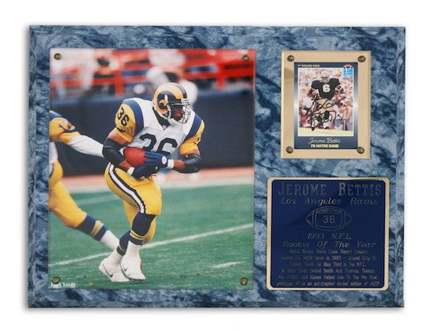 Autographed Jerome Bettis Los Angeles Rams 1993 NFL Rookie of the Year Plaque Limited Edition of 1429-Powers Sports Memorabilia