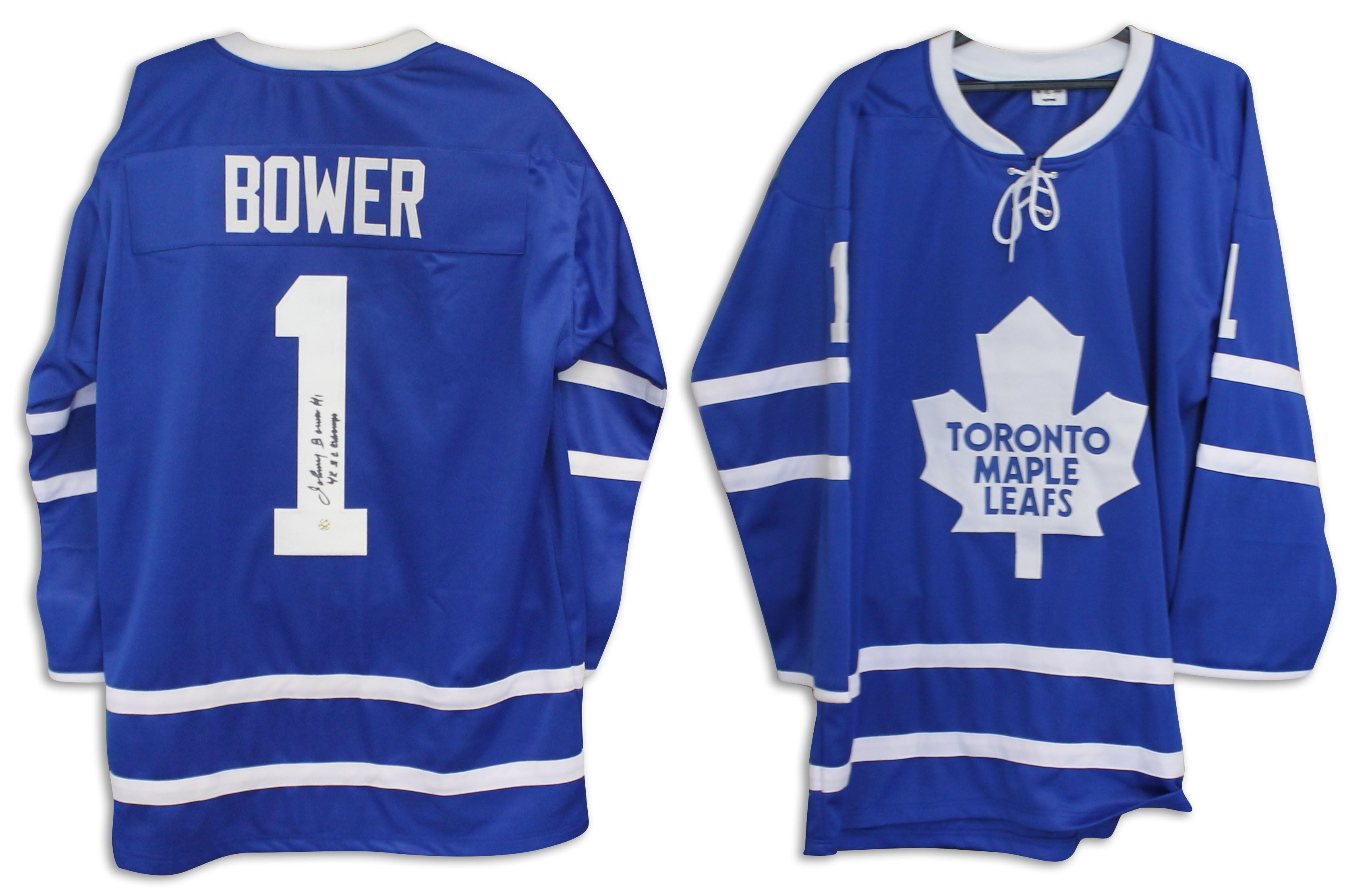 wholesale dealer f588f ab684 Johnny Bower Toronto Maple Leafs Autographed Blue Jersey Inscribed