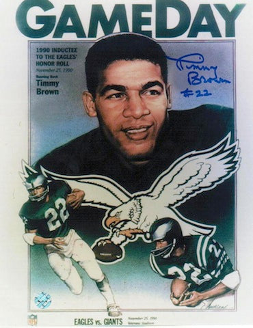 Autographed Timmy Brown Philadelphia Eagles 8x10 Photo of the Gameday Program PSM-Powers Sports Memorabilia