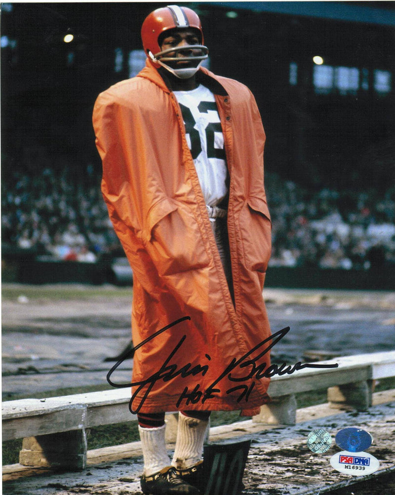 "Jim Brown Cleveland Browns Autographed 8x10 Photo Inscribed ""HOF 71"" -Standing on Sideline- PSM-Powers Sports Memorabilia"