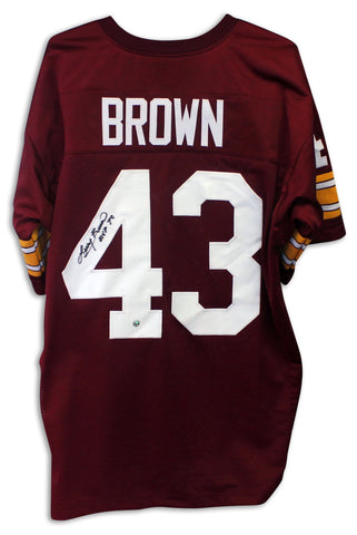 Larry Brown Washington Redskins Autographed Red Jersey Inscribed