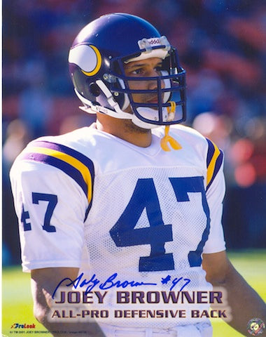 "Autographed Joey Browner Minnesota Vikings 8x10 Photo Inscribed ""#47"" PSM-Powers Sports Memorabilia"