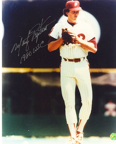 "Autographed Marty Bystrom Philadelphia Phillies 8x10 Photo Inscribed ""80 WS Champs"" PSM-Powers Sports Memorabilia"