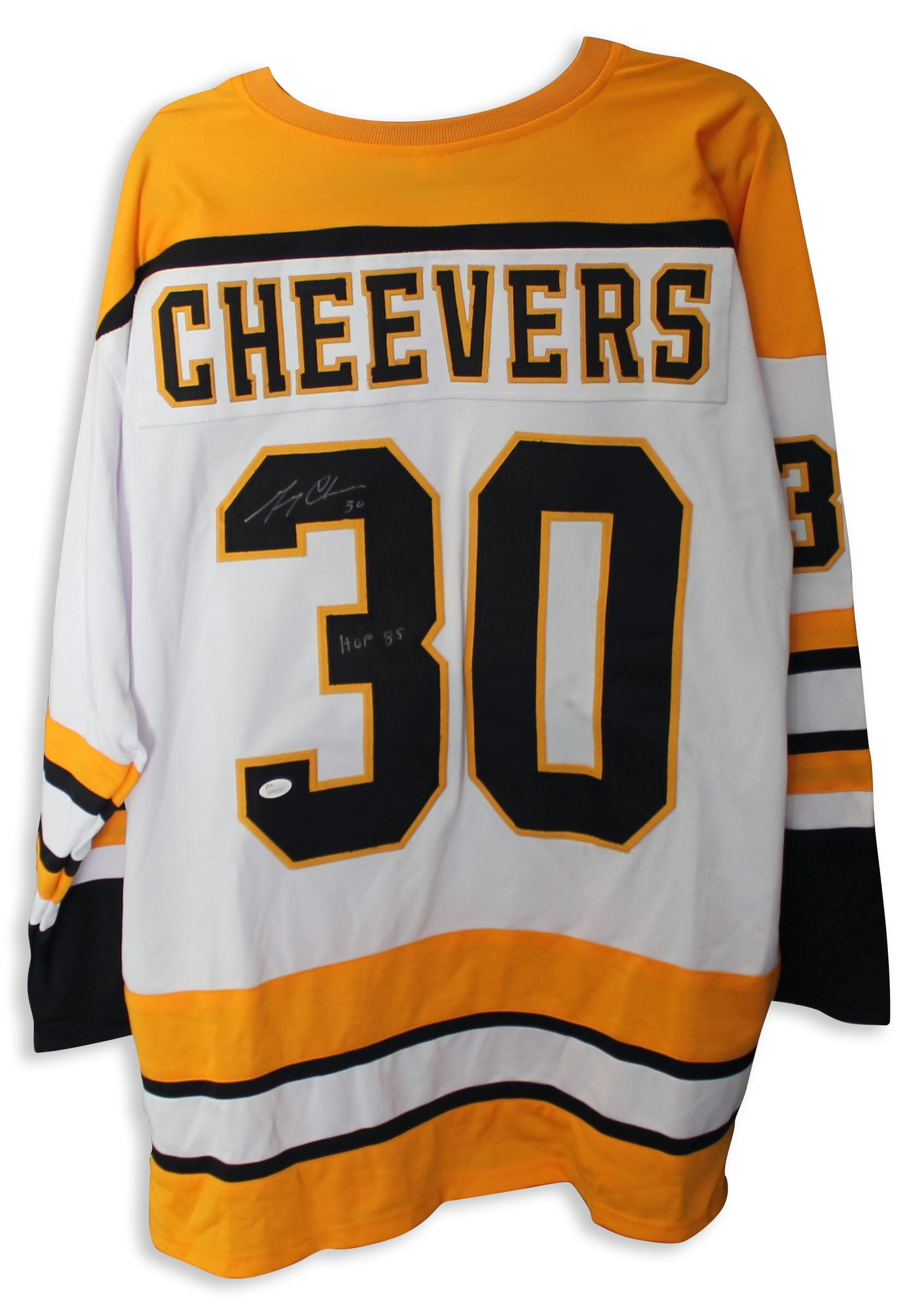 watch ca8e8 924f3 Gerry Cheevers Boston Bruins Autographed White Jersey Inscribed