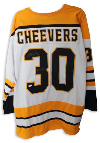 88d8ab338 Gerry Cheevers Boston Bruins Autographed White Jersey Inscribed